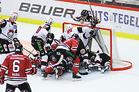 2019-11-16 | Örebro, Sweden:  Lot of players in the goal during the game between Örebro HK and Malmö Redhawks at Behrn Arena ( Photo by: Hasse Persson | Swe Press Photo )<br /> <br /> Keywords: Behrn Arena, Örebro, Ice hockey, SHL, Örebro HK, Malmö Redhawks, hpöm191116
