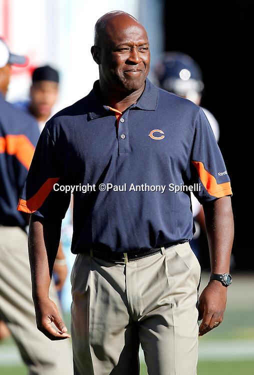 Chicago Bears Head Coach Lovie Smith watches pregame warmups during a NFL week 1 preseason football game against the San Diego Chargers, Saturday, August 14, 2010 in San Diego, California. The Chargers won the game 25-10. (©Paul Anthony Spinelli)