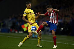 November 6, 2018 - Madrid, Spain - Angel Correa of Atletico Madrid and Achraf Hakimi of Borussia Dortmund during the Group A match of the UEFA Champions League between AtleticoLucien Favre of Borussia Dortmund Madrid and Borussia Dortmund at Wanda Metropolitano Stadium, Madrid on November 07 of 2018. (Credit Image: © Jose Breton/NurPhoto via ZUMA Press)