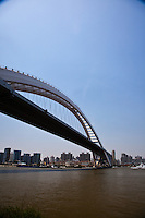 Lupu bridge in Shanghai crosses the Huangpu River near the 2010 World Expo site.