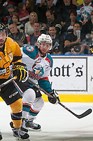 KELOWNA, CANADA - MAY 13: Rourke Chartier #14 of Kelowna Rockets skates against the Brandon Wheat Kings on May 13, 2015 during game 4 of the WHL final series at Prospera Place in Kelowna, British Columbia, Canada.  (Photo by Marissa Baecker/Shoot the Breeze)  *** Local Caption *** Rourke Chartier'