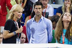 Mirna Zidaric of HRT TV and Novak Djokovic in final round of singles at 26. Konzum Croatia Open Umag 2015, on July 26, 2015, in Umag, Croatia. Photo by Urban Urbanc / Sportida