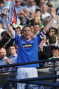 Rangers captain David Weir with the Homecoming Scottish FA Cup  - Nacho Novo's goal had won the Final against Falkirk at Hampden Park (picture by David Young - 07765 252616)