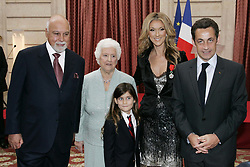 File Photo : French President Nicolas Sarkozy poses Canadian singer Celine Dion, awarded of the Legion d'Honneur, with her husband Rene Angelil her son Rene-Charles and her mother Therese Tanguay at the Elysee Palace in Paris, France on May 22, 2008. Angelil, the husband and former manager of Celine Dion, has died aged 73, the singer has announced.<br /> Mr Angelil, who Dion married in 1994 and with whom she has three children, died at home in Las Vegas from cancer. Dion took two career breaks to look after Mr Angelil after he was diagnosed with throat cancer, first in 2000. Photo by Lydie-Pool/ABACAPRESS.COM