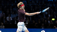 Tennis - 2017 Nitto ATP Finals at The O2 - Day Five<br /> <br /> Group Boris Becker Singles: Alexander Zverev (Germany) Vs Jack Sock (United States)<br /> <br /> Alexander Zverev (Germany) screams as he strikes the ball as he goes out of the competition at the O2 Arena<br /> <br /> COLORSPORT/DANIEL BEARHAM