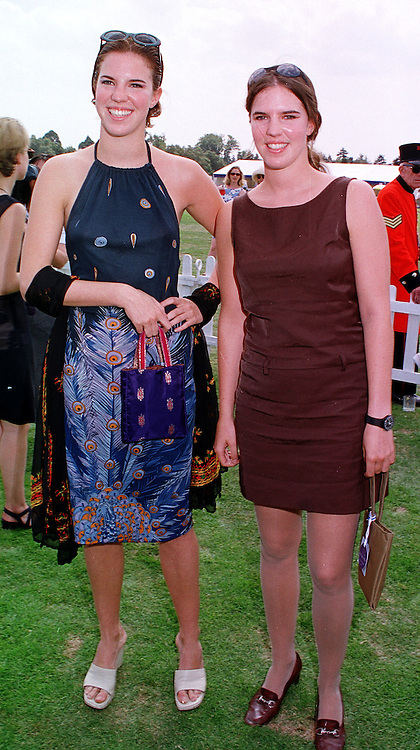Left to right, MISS ALEXANDRA AITKEN and MISS VICTORIA AITKEN daughters of jailed MP Jonathan Aitken, at a polo match in Berkshire on 25th July 1999.MUM 211