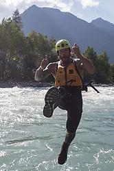 14.07.2015, Ainet, AUT, Eishockey Cracks bei Raftingtour auf der Isel, im Bild Thomas Raffl (EC Red Bull Salzburg, EBEL) // Hockey Cracks during a rafting tour on the East Tyrolean glacial river Isel. Ainet, Austria on 2015/07/14. EXPA Pictures © 2015, PhotoCredit: EXPA/ Johann Groder