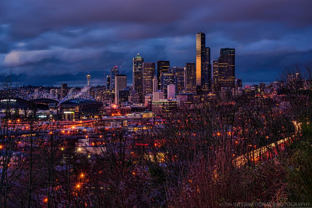 Seattle Skyline, Winter Sunset