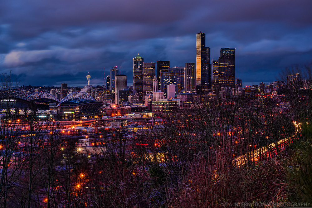 Seattle Skyline, Winter Sunset