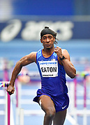 Jarret Eaton (USA) runs for the line as he finished second in his Semi Final of the Men's 60m Hurdles in a time of 7.58 during the final session of the IAAF World Indoor Championships at Arena Birmingham in Birmingham, United Kingdom on Saturday, Mar 2, 2018. (Steve Flynn/Image of Sport)