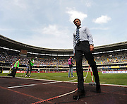 A wide angle portrait of Jose Mourinho manager of Inter Milan. Chievo v Inter Milan.
