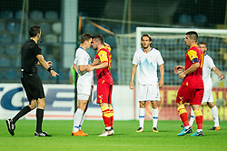 Roman Bezjak of Slovenia angry talks to Vladimir Jovovic of Montenegro during friendly football match between National Teams of Montenegro and Slovenia, on June 2, 2018 in Stadium Pod goricom, Podgorica, Montenegro. Photo by Vid Ponikvar / Sportida