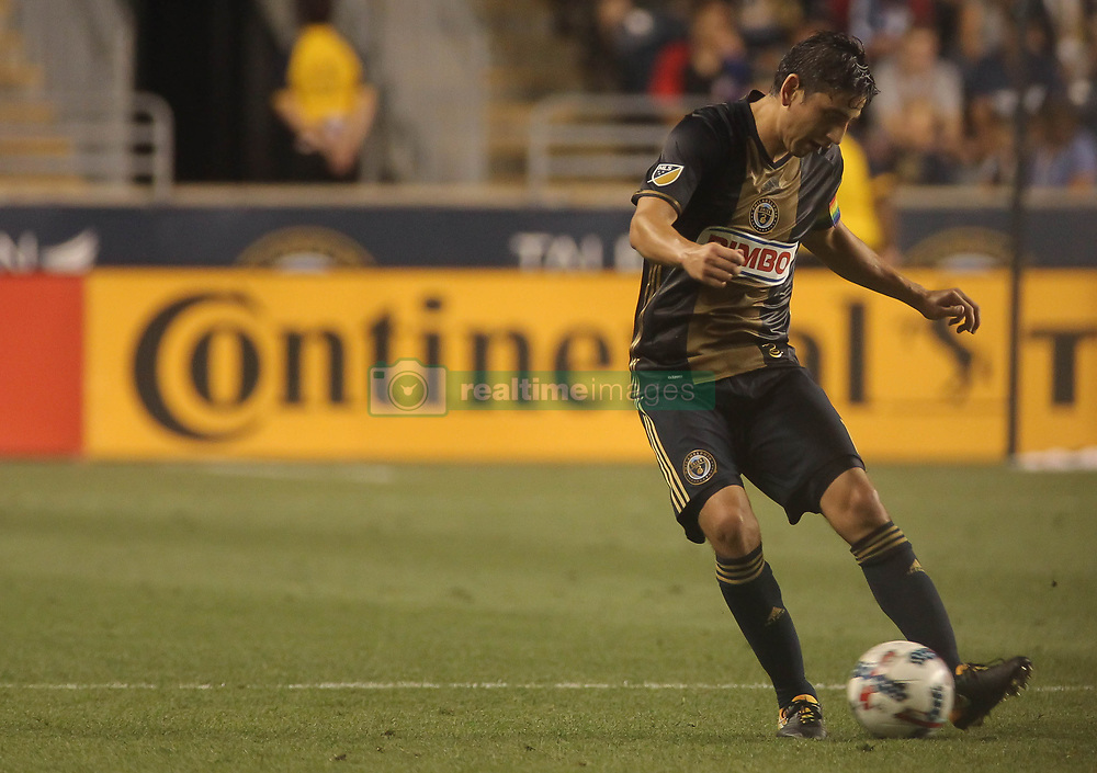 July 26, 2017 - Chester, PA, United States of America - Philadelphia Union Midfielder ALEJANDRO BEDOYA (11) dribbles the ball up field  in the first half of a Major League Soccer match between the Philadelphia Union and Columbus Crew SC Wednesday, July. 26, 2017, at Talen Energy Stadium in Chester, PA. (Credit Image: © Saquan Stimpson via ZUMA Wire)