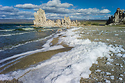 Foam blown by wind on beach, tufa formations in Mono Lake, California, USA