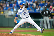March 29, 2018 - Kansas City, MO, U.S. - KANSAS Kansas City, MO - MARCH 29: Kansas City Royals relief pitcher Justin Grimm (52) pitching during the major league opening day game against the Chicago White Sox on March 29, 2018 at Kauffman Stadium in Kansas City, Missouri. (Photo by William Purnell/Icon Sportswire) (Credit Image: © William Purnell/Icon SMI via ZUMA Press)