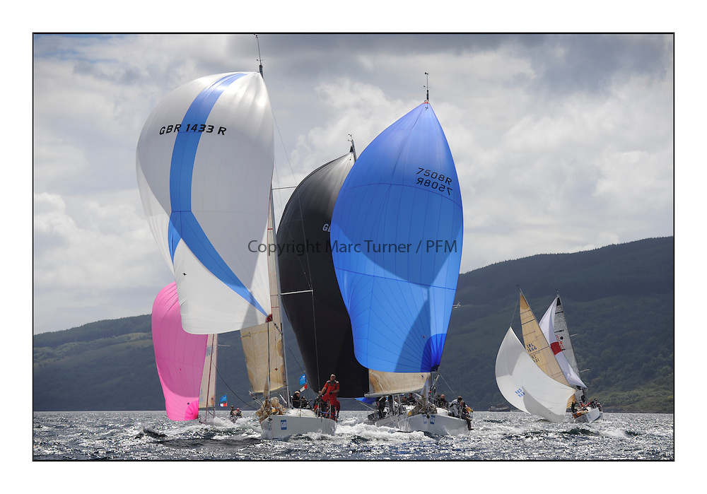 Brewin Dolphin Scottish Series 2011, Tarbert Loch Fyne - Yachting..Class 3, Fleet, downwind, GBR1433R ,Salamander XX ,John Corson ,CCC ,Corby 33, GBR7508R, Acrewed Interest, Keith Lord, Douglas Bay YC, A35.
