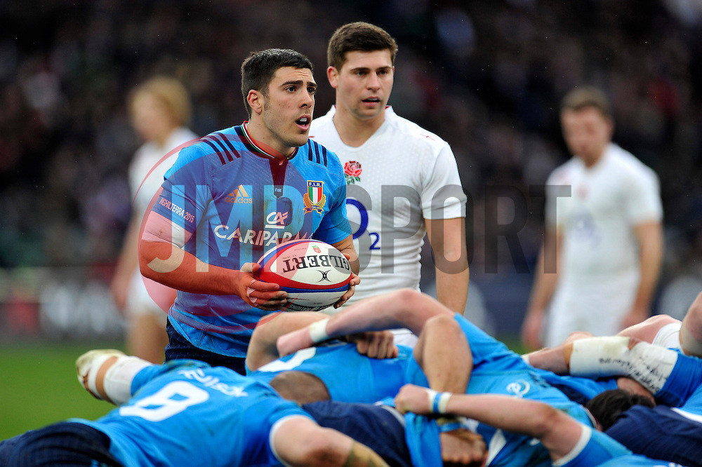 Edoardo Gori of Italy looks to put the ball into a scrum - Photo mandatory by-line: Patrick Khachfe/JMP - Mobile: 07966 386802 14/02/2015 - SPORT - RUGBY UNION - London - Twickenham Stadium - England v Italy - Six Nations Championship