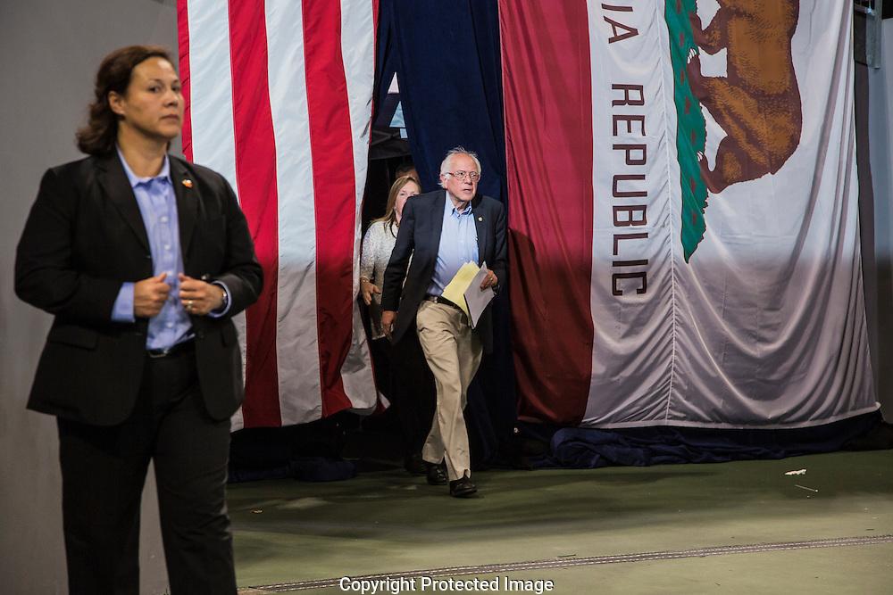 Presidential candidate Bernie Sanders speaking at the StubHub Center in Carson, CA.