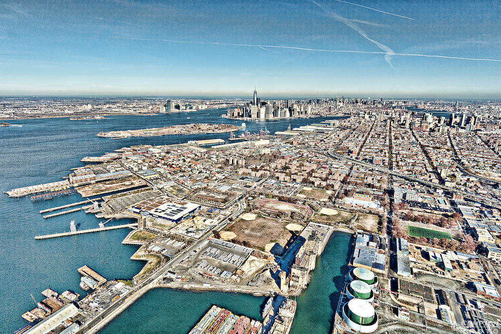 Aerial photo looking north from Red Hook, Brooklyn towards Manhattan.