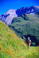 Hiking down to Zenal from Col du Pigne, Haute Route, Switzerland