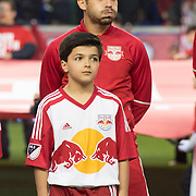 Mar 19, 2016; Harrison, NJ, USA; New York Red Bulls midfielder Felipe Martins (8) stands with a fan before the game with the Houston Dynamo at Red Bull Arena. Red Bulls defeat the Dynamo 4-3. Mandatory Credit: William Hauser-USA TODAY Sports