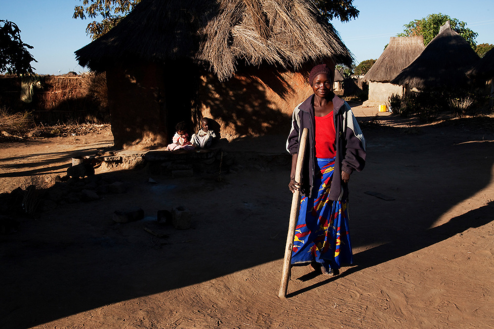 Lucia Chelo, who is disabled and her family. Chabota village, Chisekese ward, Zambia.