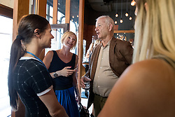 Bill Murray talking with Nina Vogrin and Ula Furlan at exclusive after-work get-together in the company of Slovenia Vodka on June 5, 2017 in Restaurant and Bar Atelje, Ljubljana, Slovenia. Photo by Matic Klansek Velej / Sportida