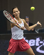 Viktorija Golubic (SUI) during the quarter finals of the WTA Generali Ladies Linz Open at TipsArena, Linz<br /> Picture by EXPA Pictures/Focus Images Ltd 07814482222<br /> 14/10/2016<br /> *** UK &amp; IRELAND ONLY ***<br /> <br /> EXPA-REI-161014-5018.jpg