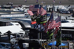September 14, 2018 - Las Vegas, NV, U.S. - LAS VEGAS, NV - SEPTEMBER 14: A general view of flags as they fly during practice for the South Point 400 Monster Energy NASCAR Cup Series Playoff Race on September 14, 2018 at Las Vegas Motor Speedway in Las Vegas, NV. (Photo by Chris Williams/Icon Sportswire) (Credit Image: © Chris Williams/Icon SMI via ZUMA Press)