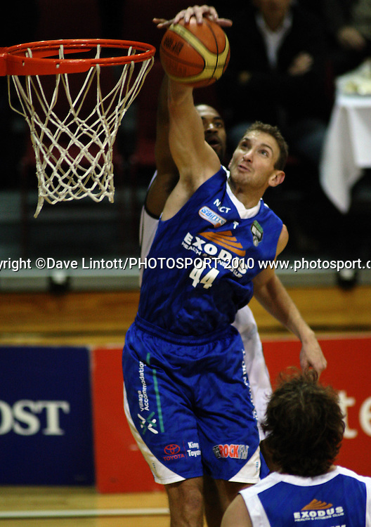Saints centre Nick Horvath beats Michael Harrison to a rebound.<br /> NBL - Wellington Saints v Nelson Giants at TSB Bank Arena, Wellington. Friday, 21 May 2010. Photo: Dave Lintott/PHOTOSPORT