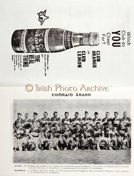 All Ireland Senior Hurling Championship Final,.02.09.1962, 09.02.1962, 2nd September 1962,.Minor Tipperary v Kilkenny, .Senior Wexford v Tipperary, Tipperary 3-10 Wexford 2-11, ...C & C, The real thing, .45 Kildare St Dublin, .