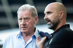 Milan Mandaric, president of NK Olimpija Ljubljana and Alexandar Linta, head coach of NK Olimpija Ljubljana during 1st Leg football match between NK Olimpija Ljubljana and HJK Helsinki in 3rd Qualifying Round of UEFA Europa League 2018/19, on August 9, 2018 in SRC Stozice, Ljubljana, Slovenia. Photo by Urban Urbanc / Sportida