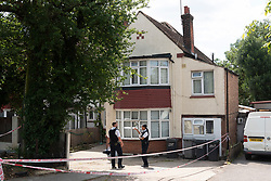 © Licensed to London News Pictures. 22/07/2020. Police officers guard a home in Preston Road, Wembley after arresting a woman on suspicion of murdering a one year old baby. The baby was found dead at the home earlier this morning. London, UK. Photo credit: Ray Tang/LNP