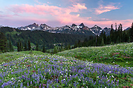 Sunset over the Tatoosh Range from Paradise in Mount Rainier National Park, Washington State, USA