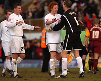 Photo: Ian Hebden.<br />Milton Keynes v Bradford City. Coca Cola League 1. 25/02/2006.<br />MK Dons skipper Dean Lewington (C) celebrates their victory at full time.