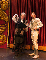 """Richard Brundage """"King Hamlet"""" and John Findlay """"Hans Christian Anderson on stage during dress rehearsal for """"The Little Mermaid"""" a traditional English panto opening this weekend at the Winnipesaukee Playhouse.  (Karen Bobotas/for the Laconia Daily Sun)"""