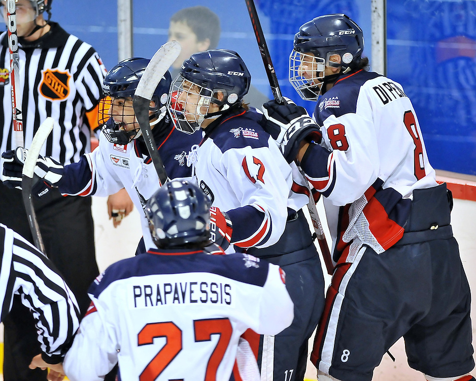 The Mississauga Rebels defeated the defending champions, the Toronto Marlboros 2-1 at 8:14 of the first overtime period to capture the 2012 OHL Cup.<br /> Photo by Terry Wilson / CHL Images.