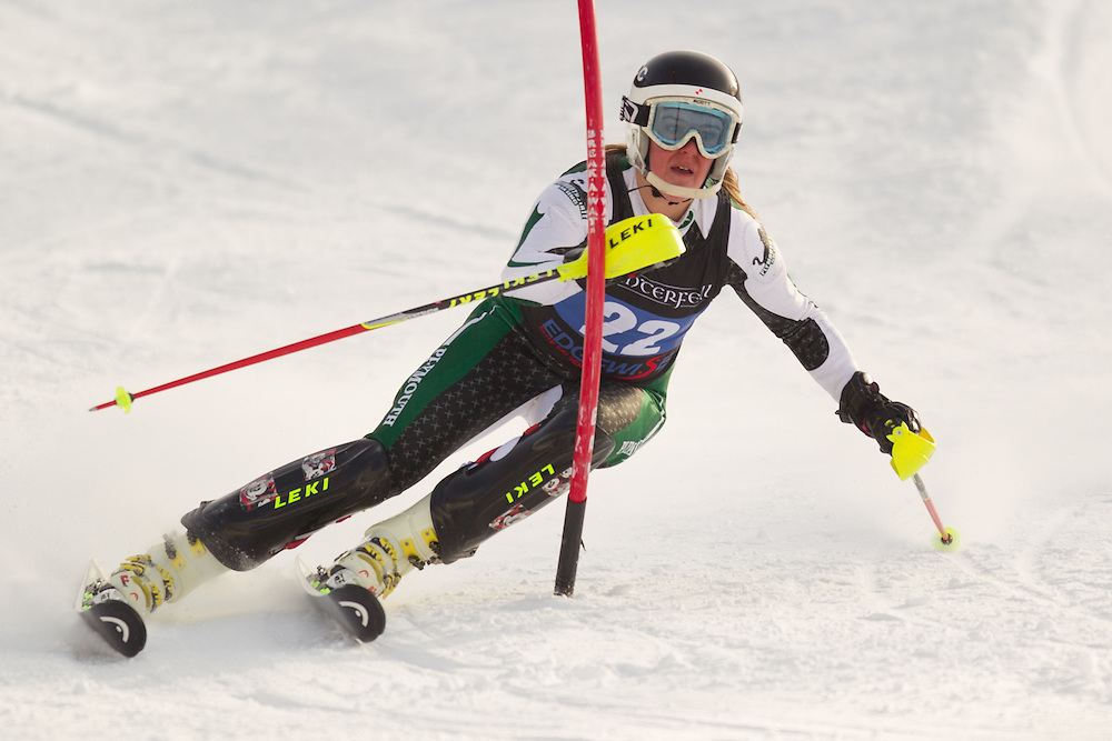 Charlottetechen Lemgart of Plymouth State University, skis during the second  run of the women's slalom at the University of Vermont Carnival at Burke Mountain on January 26, 2014 in East Burke, VT. (Dustin Satloff/EISA)