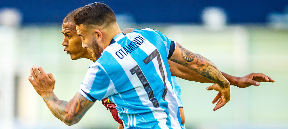 Nicolas Otamendi, front, and Salomon Rondon dispute the ball during a quarter final matchup of the Copa America Centenario 2016 in Foxborough, Massachusetts on June 18.