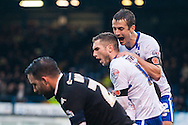 Danny Mayor of Bury (centre) is congratulated by Danny Pugh after scoring his sides second goal during the FA Cup match at Gigg Lane, Bury<br /> Picture by Matt Wilkinson/Focus Images Ltd 07814 960751<br /> 07/11/2015