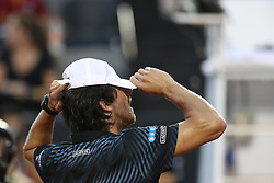 RIO DE JANEIRO, Feb. 24, 2019  Pablo Cuevas of Uruguay puts on his hat before the men's singles semifinal between Felix Auger-Aliassime of Canada and Pablo Cuevas of Uruguay at the Rio open 2019 tournament in Rio de Janeiro, Brazil, on Feb. 23, 2019. (Credit Image: © Xinhua via ZUMA Wire)