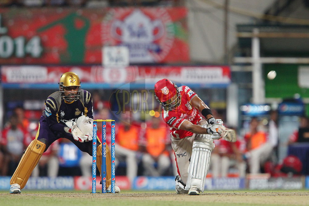 Manan Vohra launches a six during the first qualifier match (QF1) of the Pepsi Indian Premier League Season 2014 between the Kings XI Punjab and the Kolkata Knight Riders held at the Eden Gardens Cricket Stadium, Kolkata, India on the 28th May  2014<br /> <br /> Photo by Ron Gaunt / IPL / SPORTZPICS<br /> <br /> <br /> <br /> Image use subject to terms and conditions which can be found here:  http://sportzpics.photoshelter.com/gallery/Pepsi-IPL-Image-terms-and-conditions/G00004VW1IVJ.gB0/C0000TScjhBM6ikg