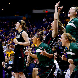 Mar 24, 2013; Baton Rouge, LA, USA; The Green Bay Phoenix bench erupts after a score against the LSU Tigers in the second half of the first round of the 2013 NCAA womens basketball tournament at the Pete Maravich Assembly Center.  LSU defeated Green Bay 75-71. Mandatory Credit: Derick E. Hingle-USA TODAY Sports