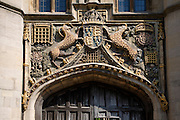 Ancient Coat of Arms of the Great Gate, Christ's College, University of Cambridge, England