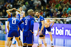 10.01.2016, Max Schmeling Halle, Berlin, GER, CEV Olympia Qualifikation, Frankreich vs Russland, Finale, im Bild Earvin Ngapeth (#9,FRA) // during 2016 CEV Volleyball European Olympic Qualification Final Match between France and Russia at the Max Schmeling Halle in Berlin, Germany on 2016/01/10. EXPA Pictures © 2016, PhotoCredit: EXPA/ Eibner-Pressefoto/ Wuechner<br /> <br /> *****ATTENTION - OUT of GER*****