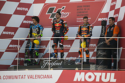 November 12, 2017 - Valencia, Valencia, Spain - Podium Moto2, #21 Franco Morbidelli (Ita) Eg 0,0 Marc Vds Kalex, #44 Miguel Oliveira (Por) Red Bull Ktm Ajo Ktm, #41 Brad Binder (Rsa) Red Bull Ktm Ajo Ktm during the race day of the Gran Premio Motul de la Comunitat Valenciana, Circuit of Ricardo Tormo,Valencia, Spain. Sunday 12th of november 2017. (Credit Image: © Jose Breton/NurPhoto via ZUMA Press)