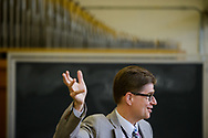 Phillip Magness, cantor at Immanuel Lutheran Church, Broken Arrow, Okla., leads a worship during the 2017 Institute on Liturgy, Preaching and Church Music on Tuesday, July 25, 2017, at Concordia University Chicago in River Forest, Ill. LCMS Communications/Erik M. Lunsford