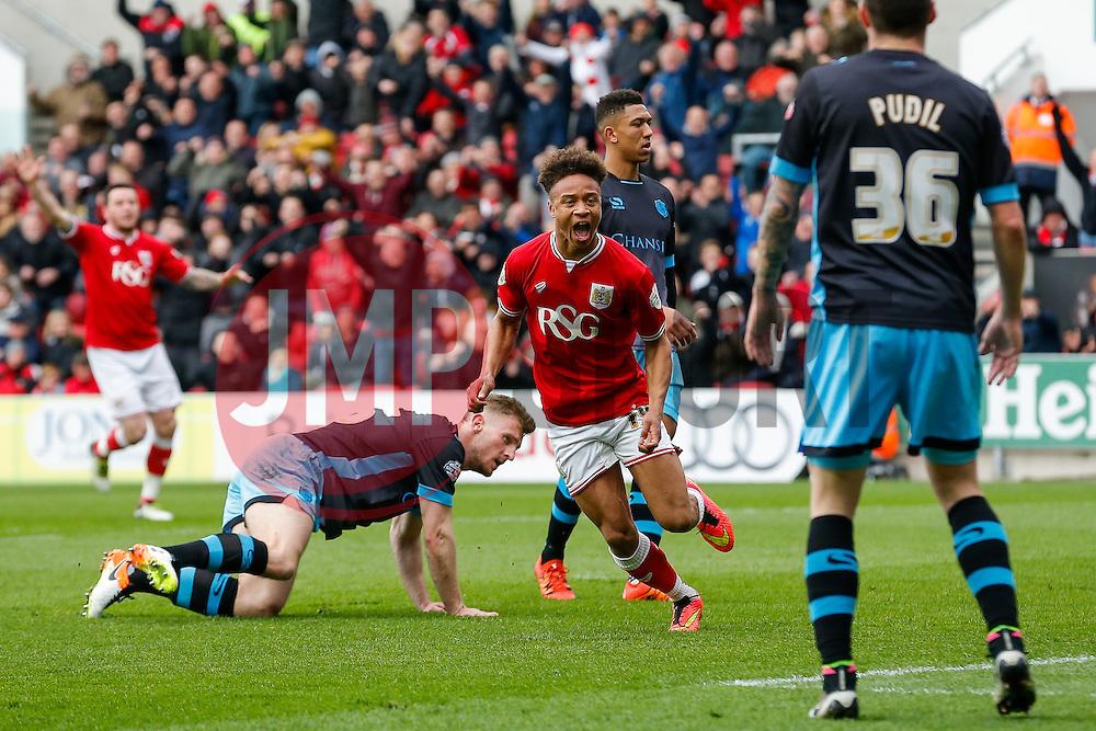 Bobby Reid of Bristol City celebrates scoring a goal to make it 2-0 - Mandatory byline: Rogan Thomson/JMP - 09/04/2016 - FOOTBALL - Ashton Gate Stadium - Bristol, England - Bristol City v Sheffield Wednesday - Sky Bet Championship.