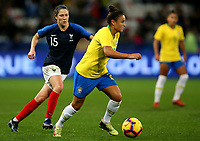 International Women's Friendly Matchs 2018 / <br /> France v Brazil 3-1 ( Allianz Riviera Stadium - Nice,France ) - <br /> Camila Pereira of Brazil (R) ,challenge with Elise Bussaglia of France (L)