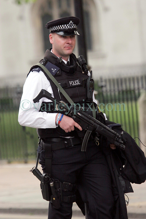 29 April 2011. London, England..Royal wedding day. Heavy police presence surrounds  Westminster Abbey as armed units moved into place..Photo; Charlie Varley.